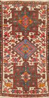 Vintage Ivory Traditional Geometric Area Rug Wool Hand-knotted Tribal Carpet 2x4