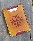 Handmade MINUS Minimalist Leather Wallet Heathen Mapuche Kultrun Gold