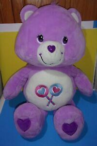 "2003 Play Along Purple Care Bears Plush Jumbo 36"" Share Bear Lollipop Tummy"