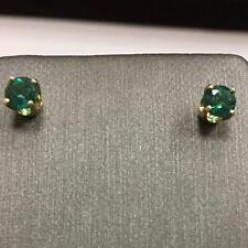14K Yellow Gold Green Emerald Round Stud Earrings 1/2tcw .50