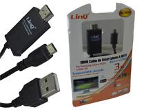 Cavo Adattatore Da Smartphone A Hdtv Samsung S3 s4 s5 Note 3 4 Linq Mhl-n2345