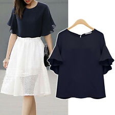 Women Ladies Casual Top Blouse Dress Short Sleeve AU Size 20 22 24 26 28 #63011