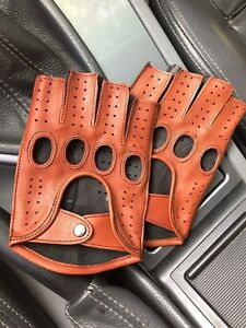 Mens Fingerless DrivIng Gloves Soft Genuine Real Napa Leather