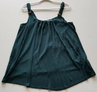 Maurices Women's Tank Top 2XL XXL Plus Green Scoopneck Stretch Sleeveless Summer