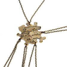 5 Pcs Unisex Vintage Friendship Necklace Bronze Stitching Pendants Chain Jewelry