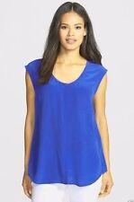 Eileen Fisher Silk Crepe De Chine U Neck Long Shirt, Adriatic, S, NWT