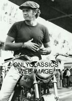 '71 KING-COOL STEVE MCQUEEN ON MOTORCYCLE PHOTO WEARING LEMANS AUTO RACING WATCH