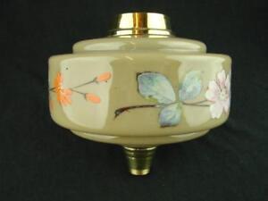 STRIKING ANTIQUE OLIVE GREEN GLASS OIL LAMP FONT ENAMMELED FLORAL DECORATION