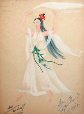 1961 Gouache painting theatre costume design woman portrait signed