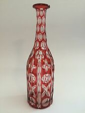 Vintage Bohemian Ruby Red Cut To Clear Glass Wine Bottle Decanter