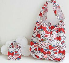 Cute 2 In 1 Red Hello Kitty Reusable Shopping Bag Eco Friendly Storage Organizer