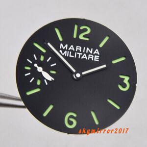 34.3 mm Black Sandwich dial green marks fit for ETA 6497 ST3600 movement watch