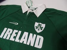 NWT LANSDOWNE Ireland Polo Shirt Men's M Green Relaxed Fit Cotton Collared Rugby