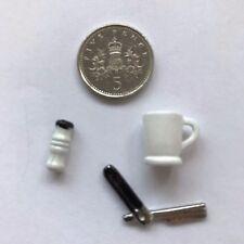 1:12 Scale SHAVING BRUSH/CUT-THROAT RAZOR/MUG Set Dolls House Miniature Bathroom