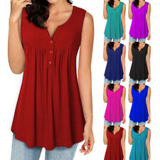 Women Summer Tunic Sleeveless T Shirt V Neck Solid Button Loose Casual Tank top