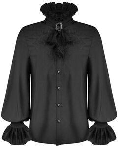 Devil Fashion Mens Gothic Shirt Black Steampunk Victorian Vampire & Lace Cravat