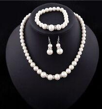 Women Chain Pendant Statement Bib Collar Pearl Necklace Set Bracelet Earrings