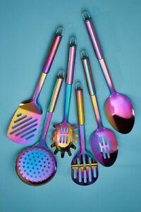 NEW 6-PIECE Iridescent Metal Utensil Set-Stainless Steel Iridescent Design Gift