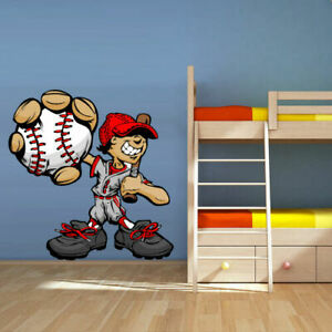 Full Color Wall Vinyl Sticker Decals Baseball Player Boy Pitcher (Col104)