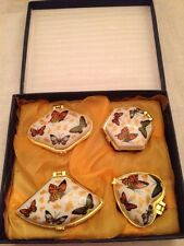 Set of Four Porcelain Trinkets Boxes Pill Boxes With Butterflies