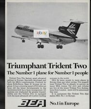 BEA BRITISH EUROPEAN 1969 TRIUMPHANT TRIDENT 2 JET  #1 PLANE FOR # 1 PEOPLE AD