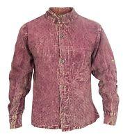 Casual Shirts Grandad Stonewashed Summer Polka Dot Full Sleeve Cotton Hemp