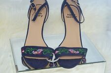Hippie Laundry Vivienne Pumps Shoes Heels Sandals 10 Navy Blue Butterfly New NIB