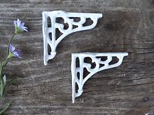 Set of 2 Small True White Floral Swirl Shelf Brackets Cast Iron Wall Corner Trim
