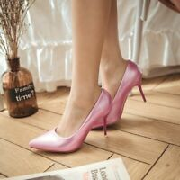 Chic Pointy Toe Patent Leather Slip On Pumps Womens Party Dress Stiletto Shoes