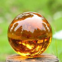 Amber Asian Rare Natural Quartz Magic Crystal Healing Ball Sphere 40mm +Stand JT