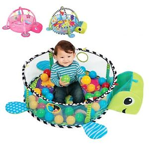 3 in 1 Turtle Baby Gym Activity Play Floor Mat w/Ball Pit & Toys Balls Playmats