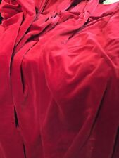 """VINTAGE DEEP RED/WINE COTTON VELVET DRAPES 68"""" W ( FIXED PLEAT TOP X 70"""" L LINED"""