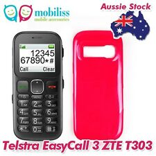 2 X Hot Pink TPU Gel Jelly Case Cover Skin Telstra EasyCall 3 Easy Call ZTE T303