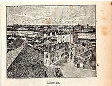Stampa antica LEGNAGO veduta panoramica in miniatura Verona 1905 Old print