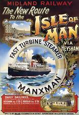 Isla De Man-figuran Tren de Vapor de Viaje Vacaciones arte cartel impresión vacaciones A3