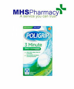 POLIGRIP 3 MINUTE DAILY CLEANSER FOR DENTURES 30 TABLETS ULTRA FAST DEEP CLEAN