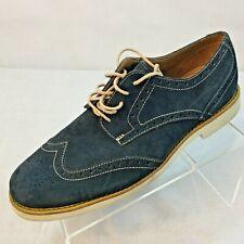 SEBAGO Wing Tip Oxfords Heels Shoes Size 9 Almond Toe Blue Denim mens