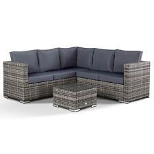 Club Rattan Lille Garden Corner Sofa with Coffee Table in Grey Rattan