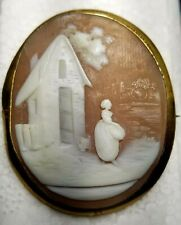 Estate Gold Filled Rebecca At The Well Cameo Pin-Natural Hand Carved Sardonyx