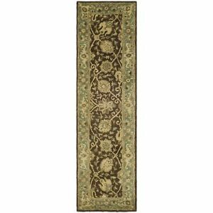 Antiquity Hand-Tufted Brown / Green Wool Rug 2' 3 x 12' Runner