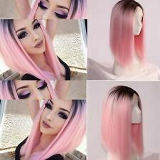 Long Straight Bob Black & Pink Wig Heat Resistant Synthetic Lace Front OmbreWig!