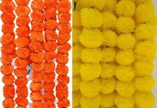 20 Artificial Genda Yellow Orange Strings Marigold Flowers for Decoration 4.5 ft