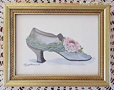 Peggy Abrams Framed Art Shoe Print Signed Shabby Victorian Chic Vintage