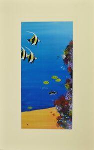 "Coral Reef Scene Matted Print 12"" x 19"" , Australian Marine Animals"