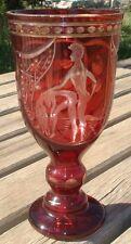 Coupe 1930 Art Deco Calice Cristal taillé d'une scène érotique Bohemian Glass