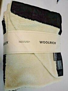 "Woolrich 2 Sided Faux Leather + Fleece 50 ""x68 "" Throw UNUSED - STELLAR Clean"