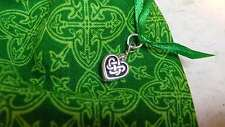 "CELTIC HEART Knot Fleur-de-lis IRISH Jewelry ROSARY Pouch bag 4"" x 3"" Lined"