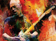 "PINK FLOYD David Gilmour Painting Giclee Canvas 16""X20"" Guitar Rock Music"