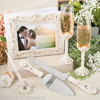 VINTAGE INSPIRED Wedding Accessories Set Guest Book, Pen, Cake Servers, Flutes