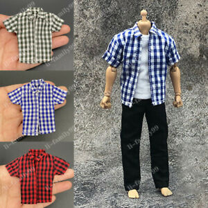 """1/12 Scale Short Sleeve Plaid Shirt Model Soldier Clothes for 6"""" Action Figure"""